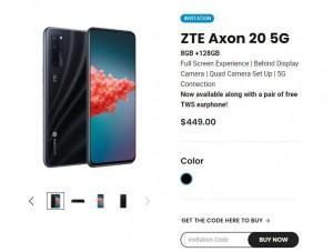 ZTE Axon 20 5G теперь доступен для покупки за 449 долларов