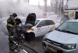 Загорелся автомобиль такси
