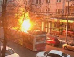 В центре города вспыхнул троллейбус
