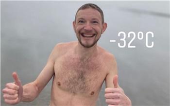 «Антон, ты космический»: красноярец искупался в Енисее в 30-градусный мороз