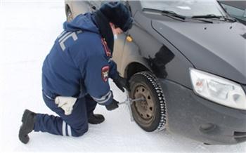 Автоледи из Заозерного застряла на трассе в −40 ° из-за лопнувшего колеса. Помогли полицейские