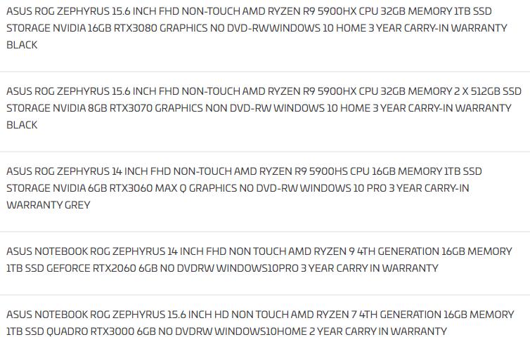 Игровые ноутбуки ASUS Zephyrus получат Ryzen 5000H и GeForce RTX 3000
