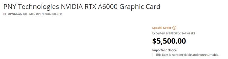 NVIDIA объявила о доступности сверхмощной видеокарты RTX A6000 с 48 Гбайт GDDR6 и ценой $5500