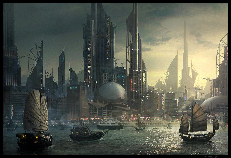 Корабли, высотки и узкие улочки мегаполиса: отменённая киберпанковая игра Ubisoft на рисунках десятилетней давности
