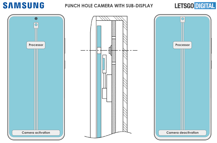Samsung запатентовала смартфон со скрывающейся фронтальной камерой