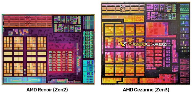 Опубликовано изображение кристалла мобильных процессоров AMD Cezanne на Zen 3 — чип стал больше, чем у Renoir