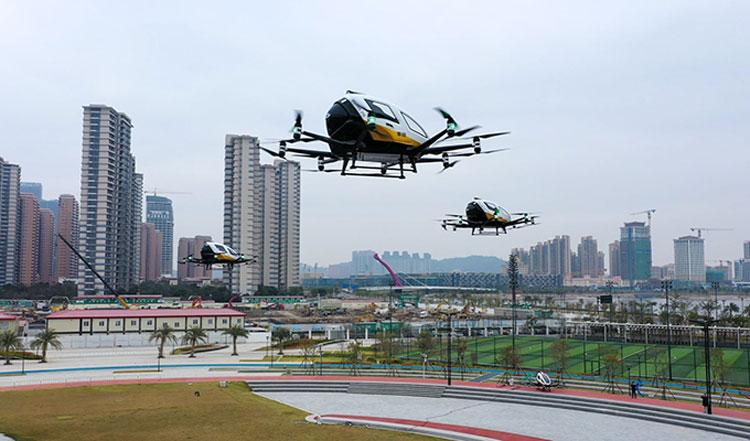 Аэротакси EHang совершили показательные групповые полёты по туристическим маршрутам Китая