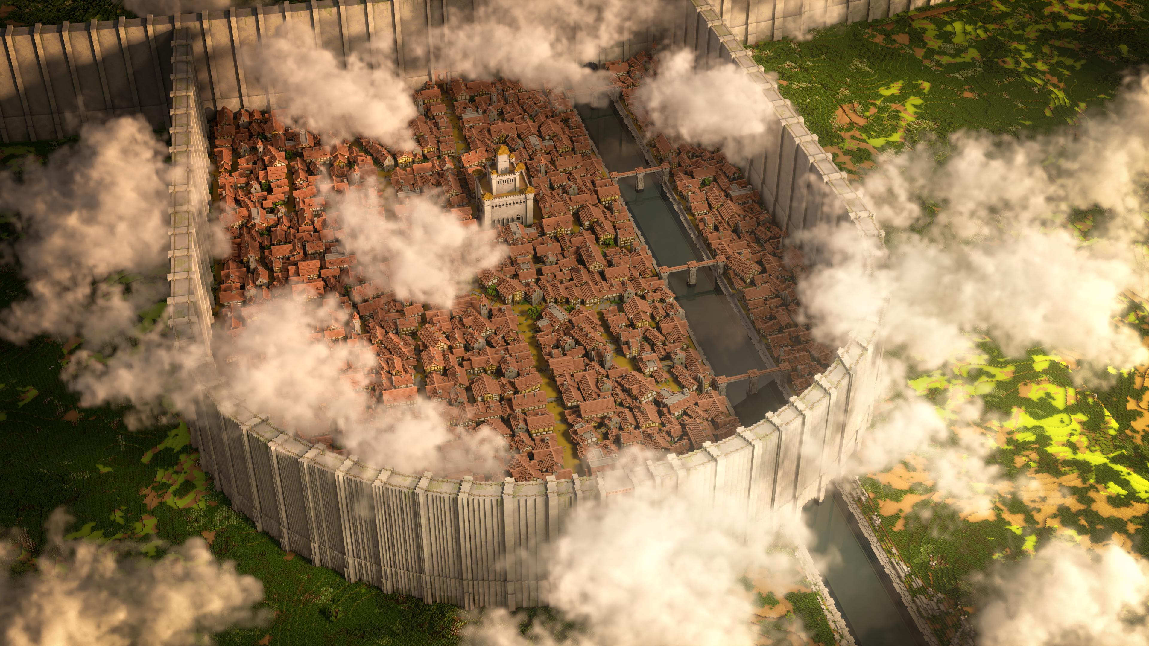 Игрок воссоздал в Minecraft город из аниме «Атака титанов» в масштабе один к одному