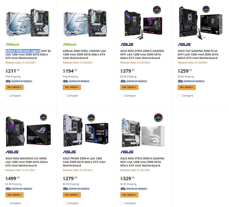 Продажи материнских плат на чипсете Intel Z590 начнутся с 22 января
