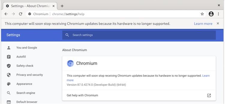 Google уберёт из Chrome 89 поддержку некоторых старых процессоров
