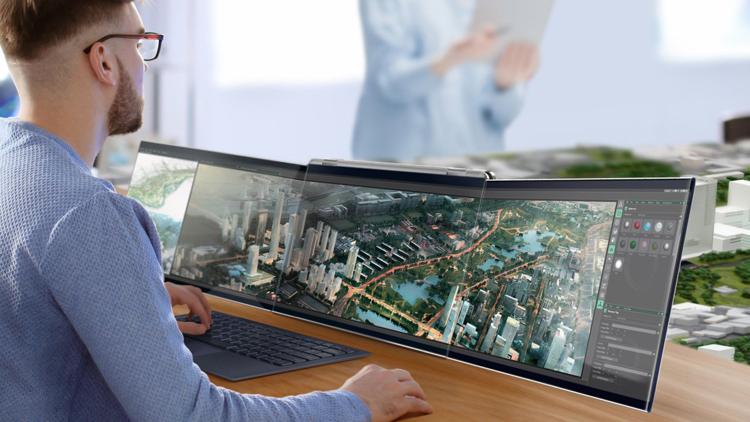 Compal создала концептуальный ноутбук Airttach с тремя дисплеями