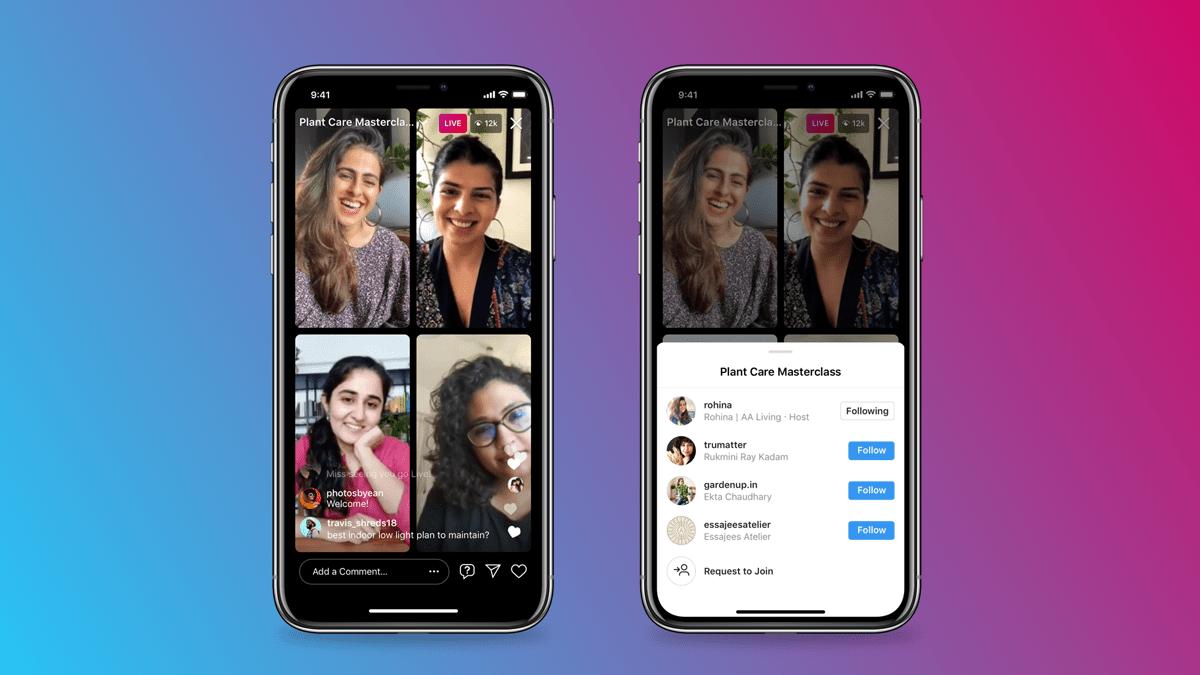 Instagram представила Live Rooms — прямые трансляции с четырьмя участниками и возможностью монетизации