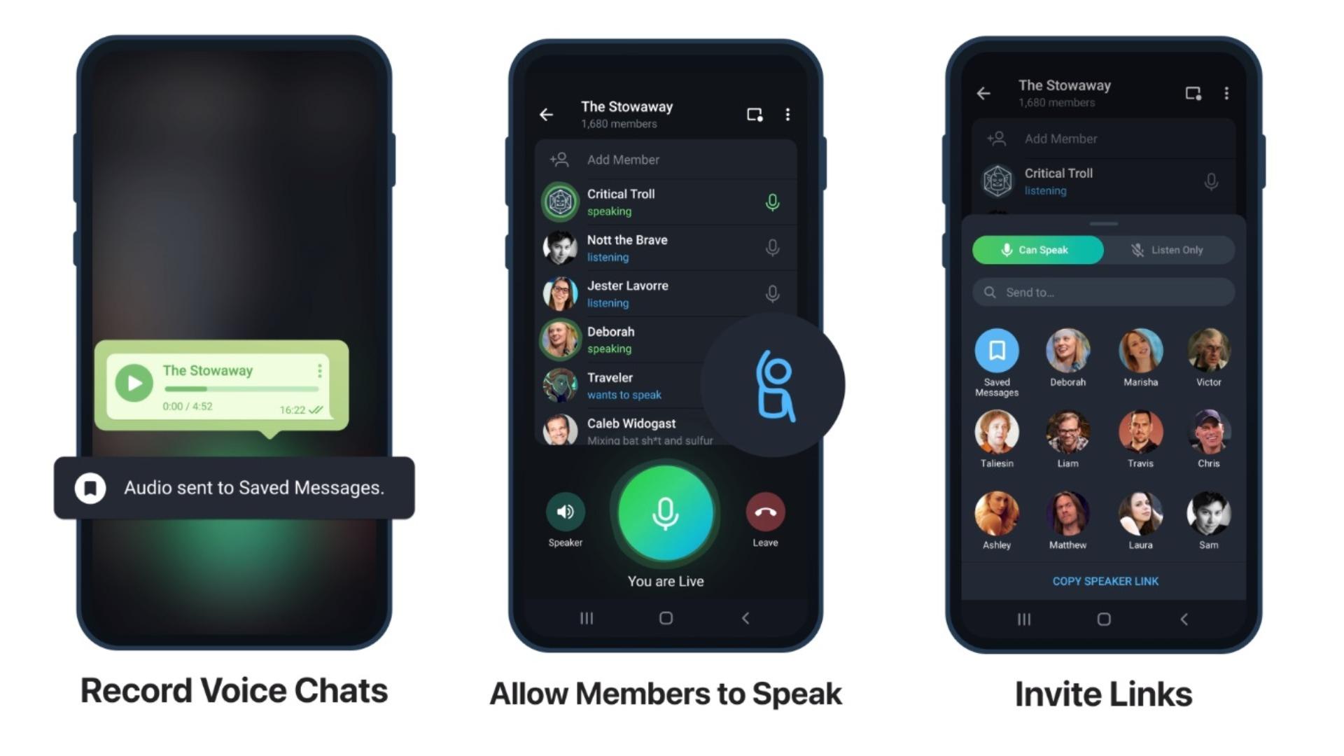 Telegram расширил возможности голосовых чатов