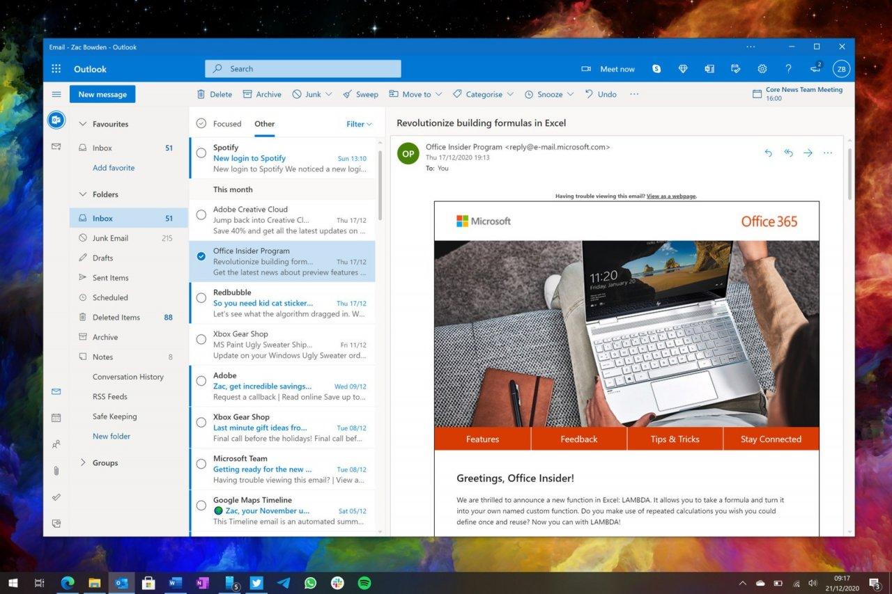 Microsoft разрабатывает новое приложение Outlook для Windows и Mac на базе веб-версии