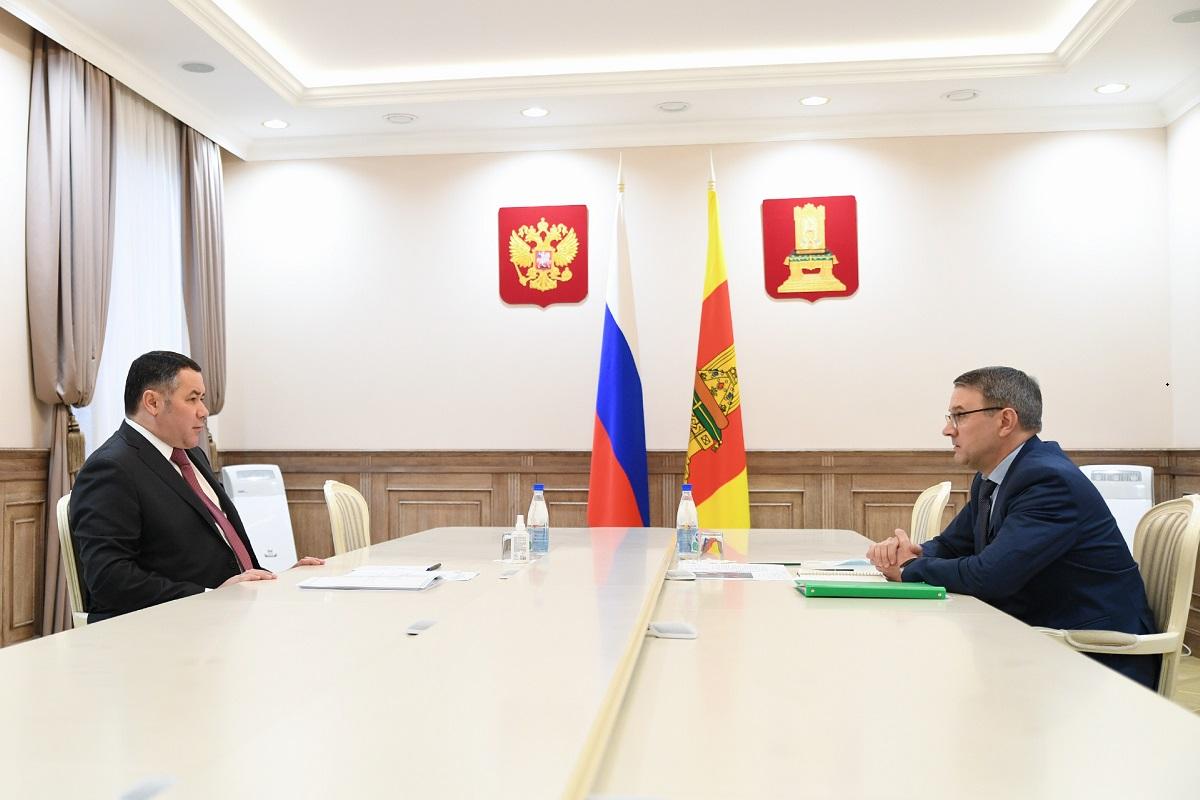Игорь Руденя обсудил с главой Бежецкого района ремонт дорог, вакцинацию и модернизацию ЖКХ