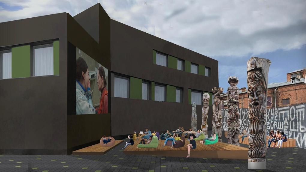 В центре Екатеринбурга появится кинотеатр под открытым небом и лекторий с деревянными идолами. Рендеры