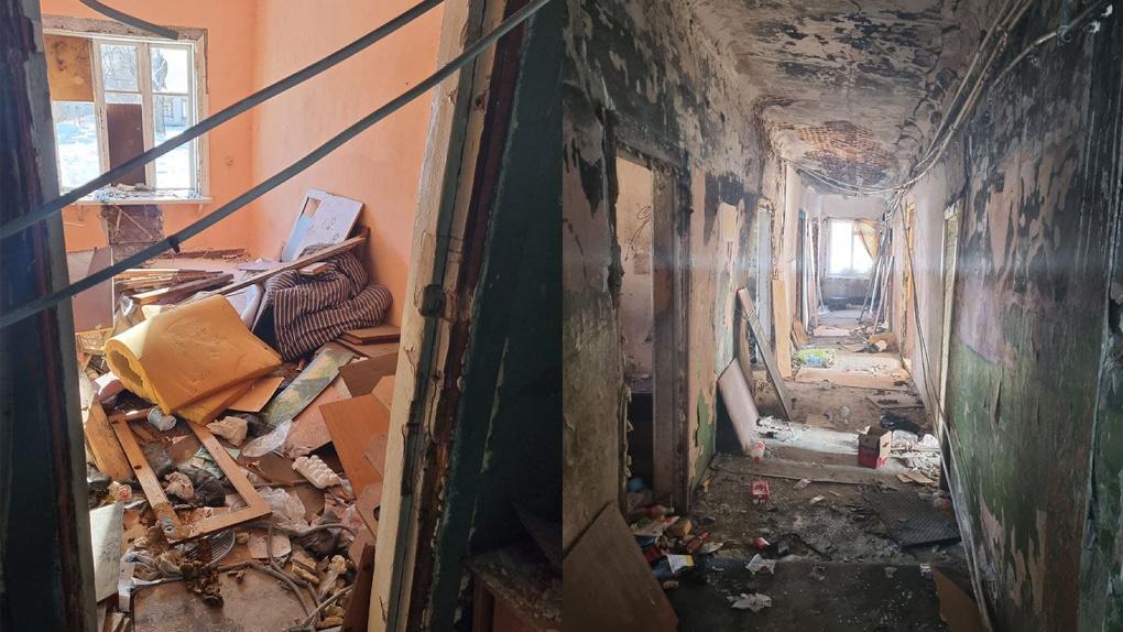 Это не хоррор, а дом, где живут люди: осыпавшиеся стены, разбитые окна, воды и тепла нет. Фото, видео