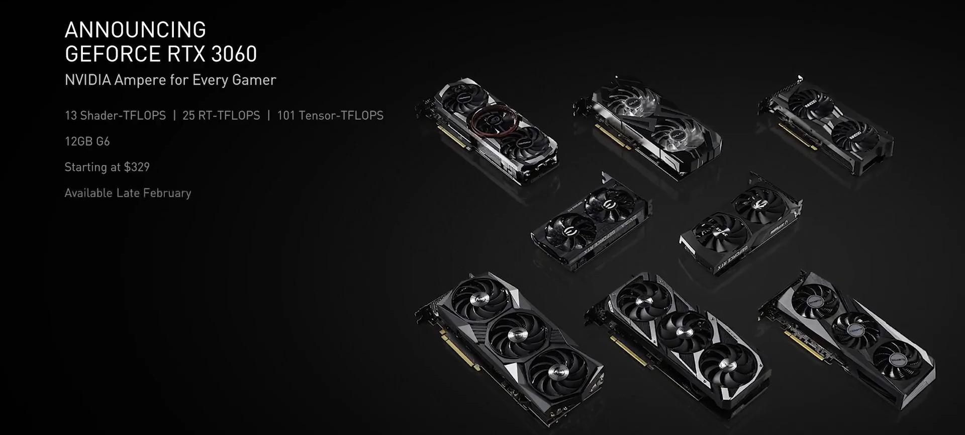 NVIDIA представила недорогую видеокарту RTX 3060