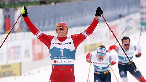 Александр Большунов убежал от Норвегии // Лидер сборной России выиграл скиатлон на чемпионате мира в Обертсдорфе