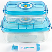 Вакуумные контейнеры Rawmid RVC-01 и RVC-02 для длительного хранения продуктов и готовых блюд