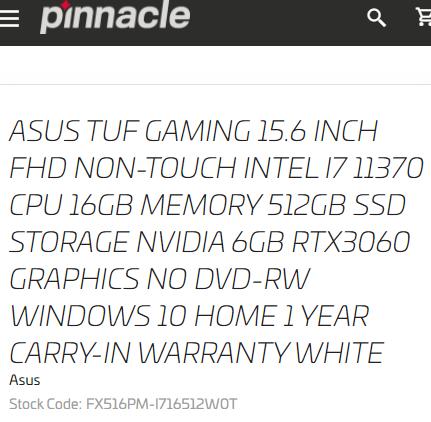 Процессор Intel Core i7-11370H Tiger Lake-H замечен в ноутбуке ASUS TUF за 1400 евро