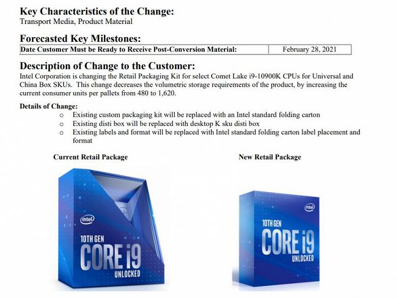 Core i9-10900K лишился своей фирменной уникальной упаковки. Теперь он будет поставляться в обычных коробочках