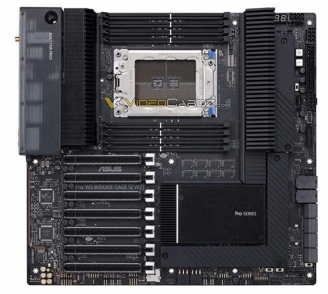 Гигантская плата Asus для очень редких процессоров AMD. Появилось первое изображение Asus WRX80 Pro WS Sage SE