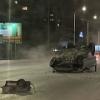 В Омске на Красном Пути иномарка снесла опору, забор и перевернулась
