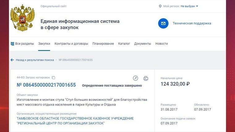 «Стул больших возможностей» за 124 тысячи рублей установили под Тамбовом