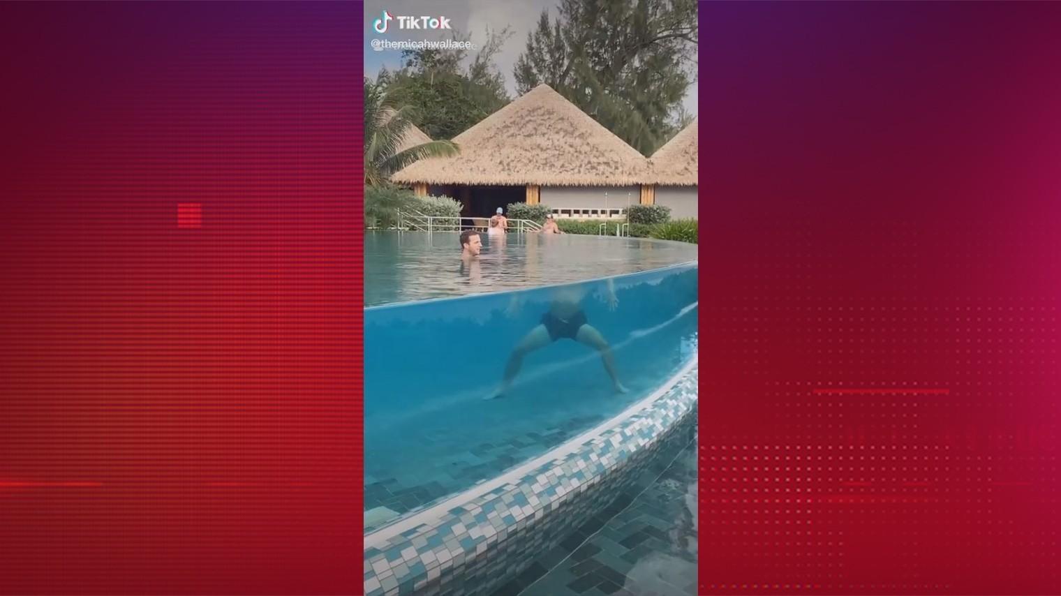 Оптическая иллюзия оставила мужчину в бассейне без головы — видео