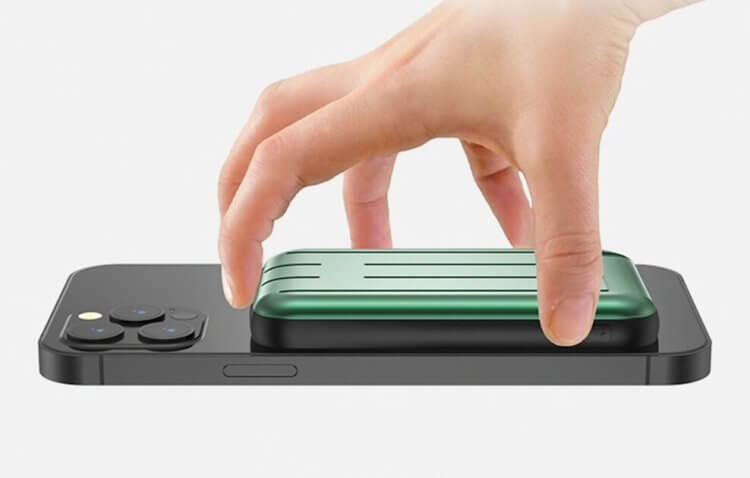Вышел съёмный MagSafe-аккумулятор для iPhone. Он крепится к нему на магнитах