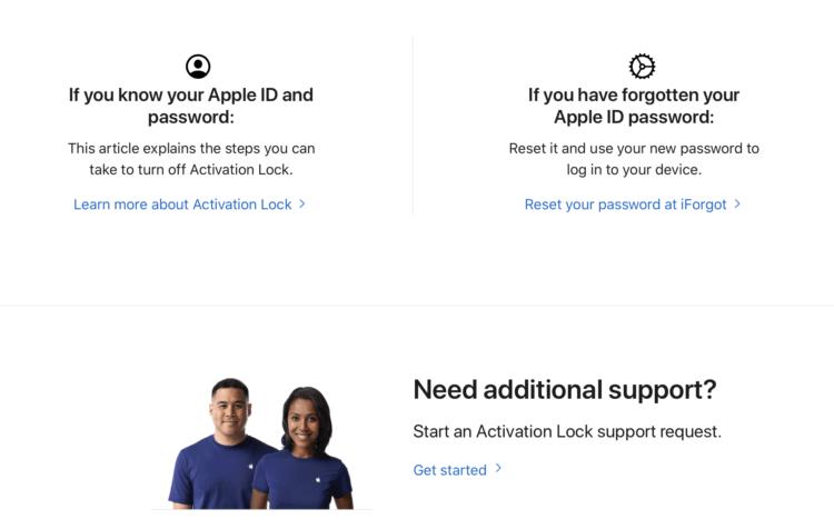 Apple запустила сайт для удаления блокировки активации iPhone