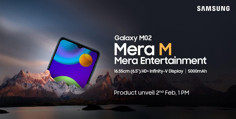 Samsung 2 февраля представит бюджетник Galaxy M02 c Infinity-V дисплеем, батареей на 5000 мАч и ценником меньше $100