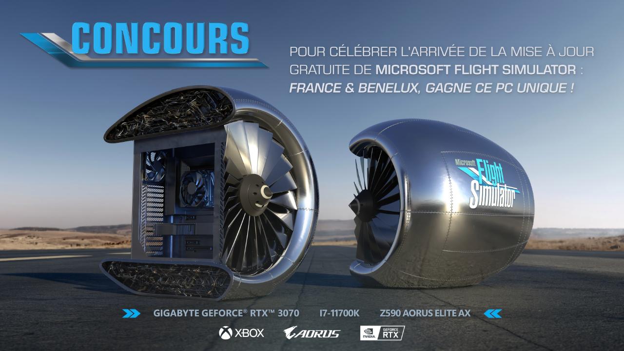 Microsoft в честь выхода обновления Flight Simulator разыгрывает кастомный ПК в виде турбины от самолёта