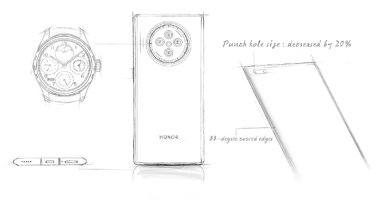 Флагманский смартфон Honor V40 появился на изображениях с круглой квадро-камерой и «дырявым» дисплеем