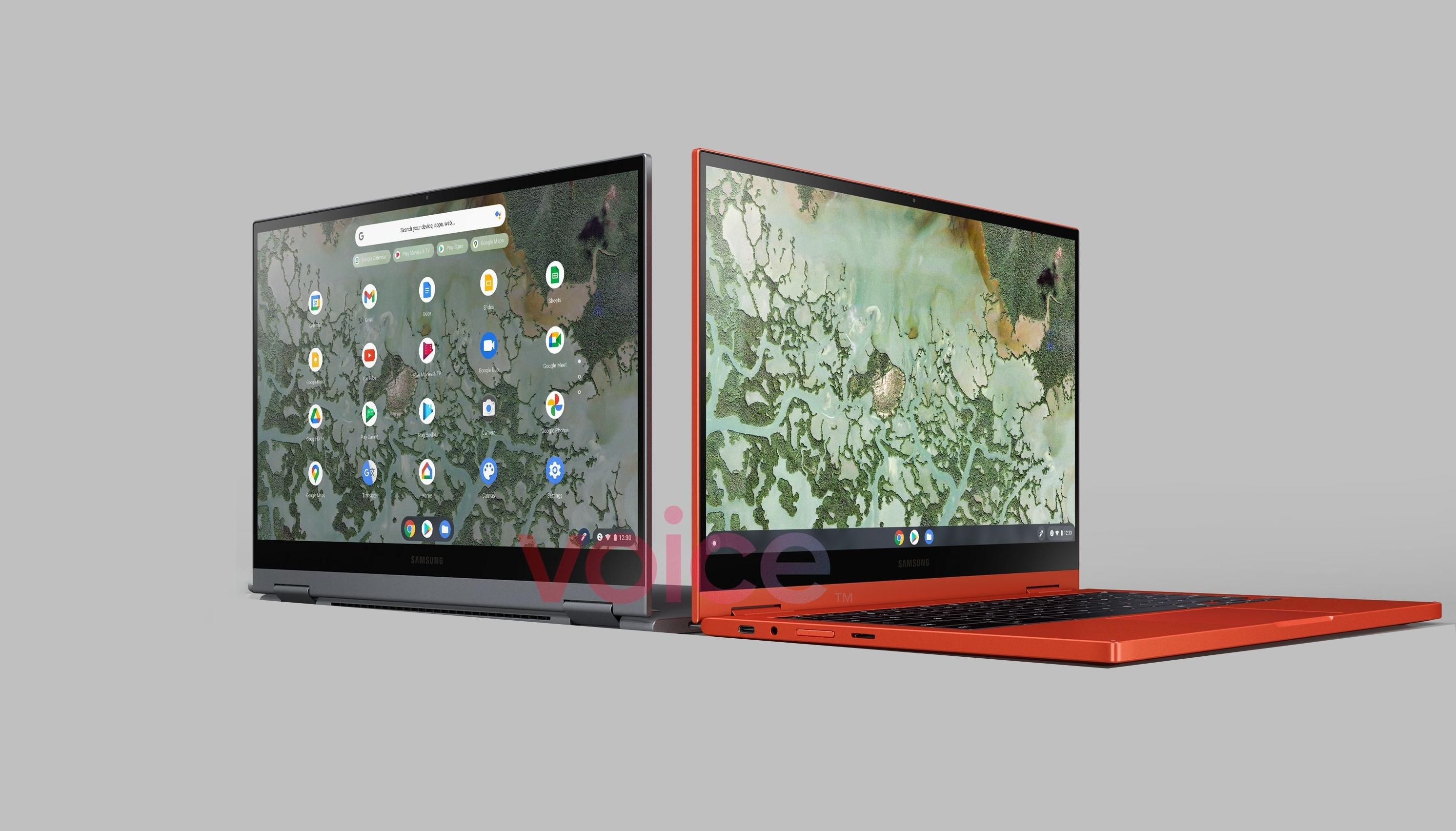 Пресс-рендеры Samsung Galaxy Chromebook 2 попали в сеть: поворотный дисплей с тонкими рамками и две расцветки
