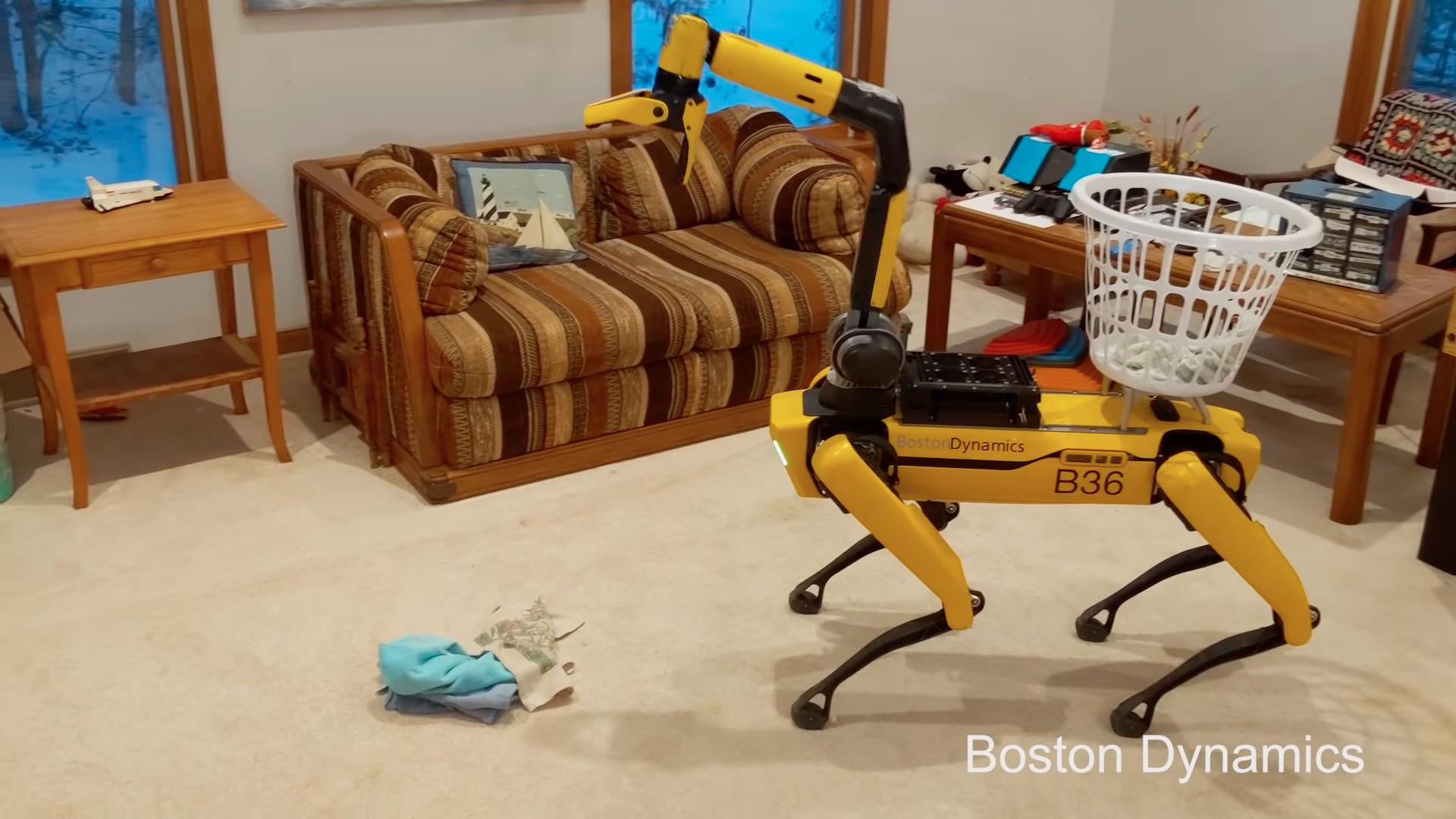 Роботы-пылесосы смогут собирать вещи на полу во время уборки (робособака Boston Dynamics Spot показала как это будет)