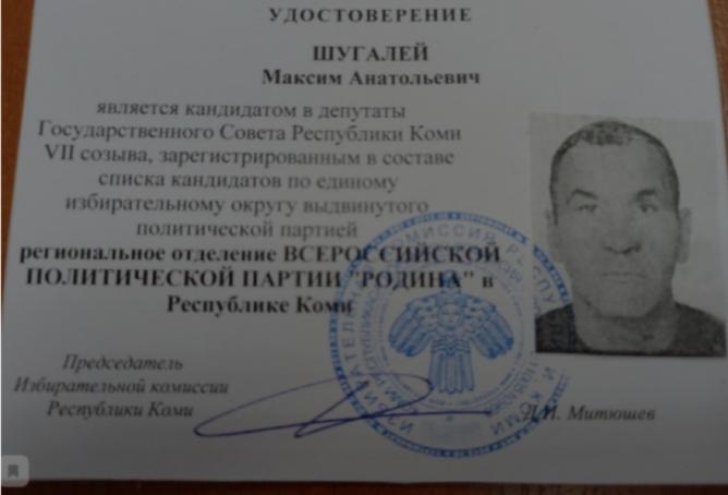 Шугалей возглавил партию «Родина» на выборах в Госсовет Коми