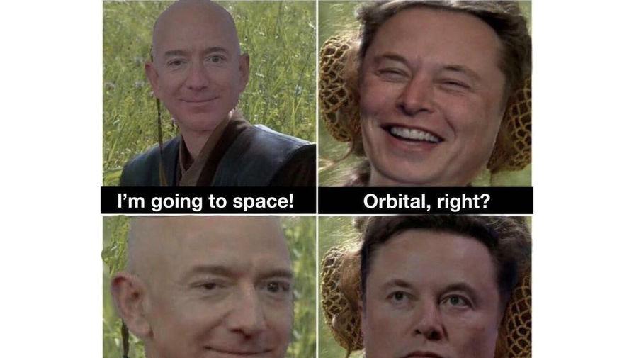 Илону Маску понравился мем про Джеффа Безоса и суборбитальный полет в космос