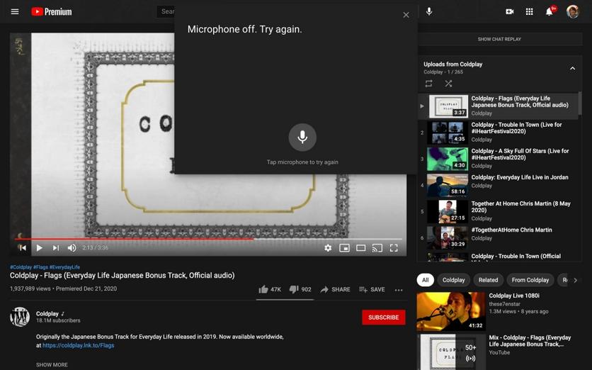 В веб-версии YouTube появилась поддержка голосовых команд