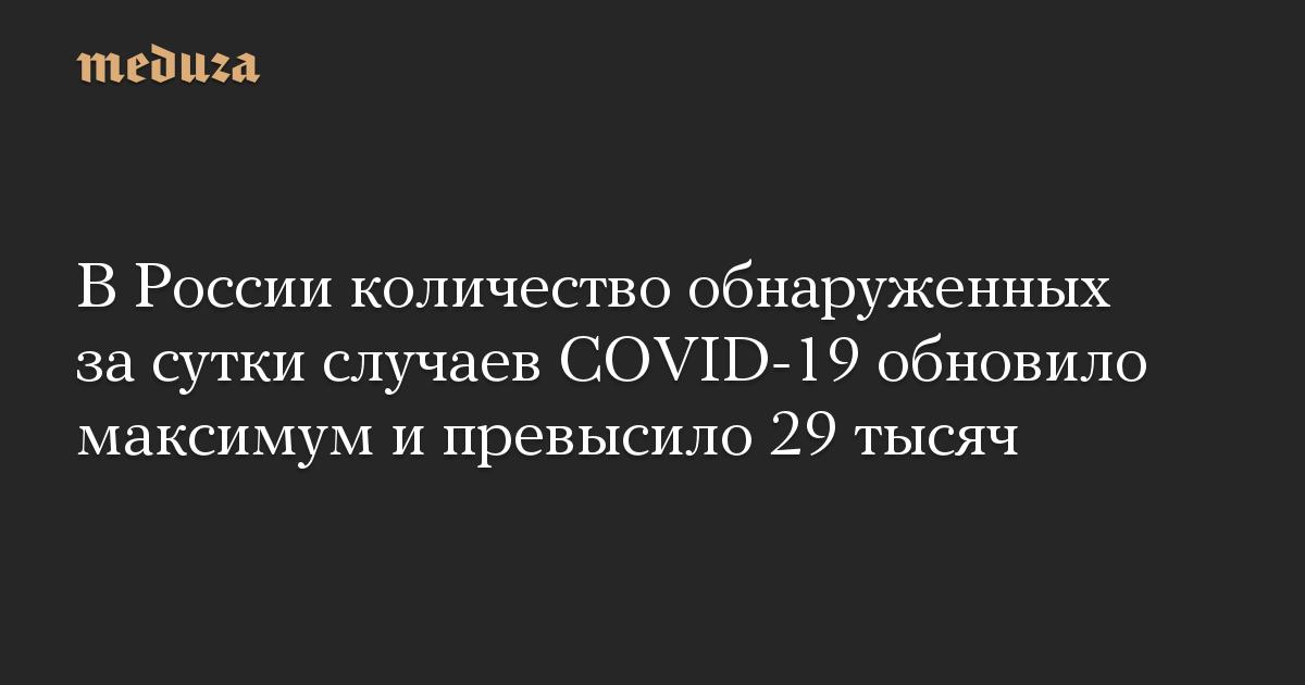 В России количество обнаруженных за сутки случаев COVID-19 обновило максимум и превысило 29 тысяч