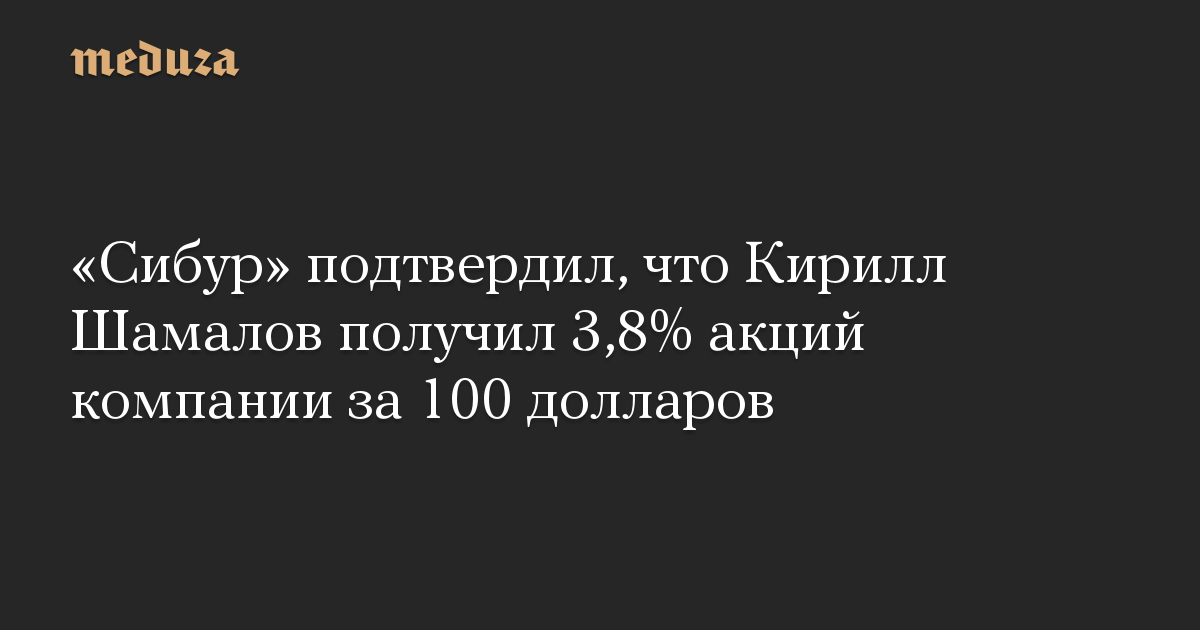 «Сибур» подтвердил, что Кирилл Шамалов получил 3,8% акций компании за 100 долларов