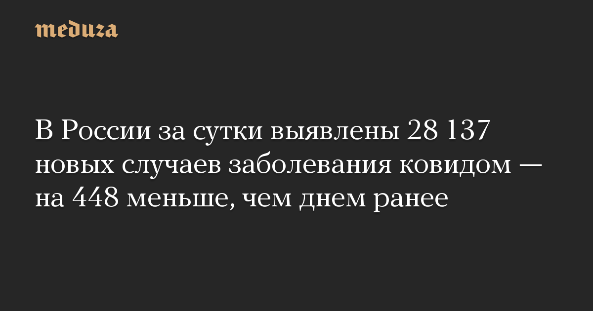 В России за сутки выявлены 28 137 новых случаев заболевания ковидом — на 448 меньше, чем днем ранее