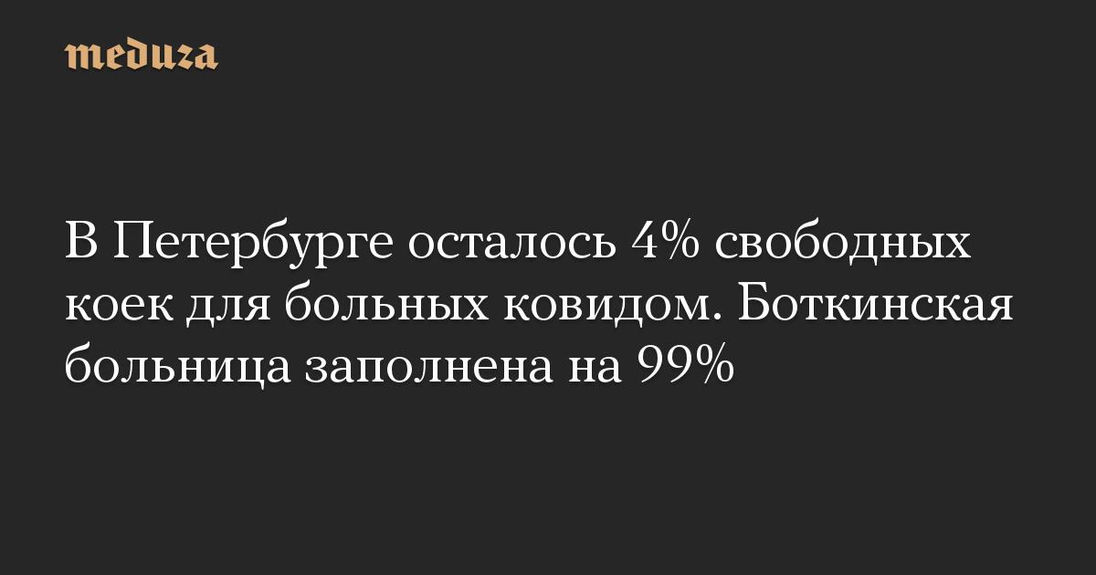 В Петербурге осталось 4% свободных коек для больных ковидом. Боткинская больница заполнена на 99%