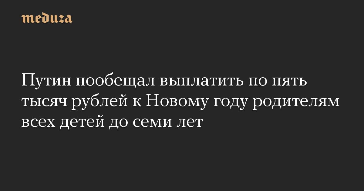 Путин пообещал выплатить по пять тысяч рублей к Новому году родителям всех детей до семи лет