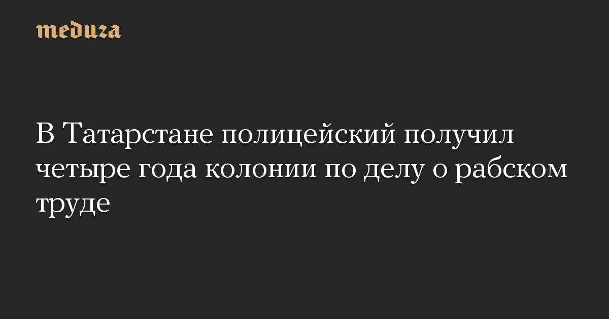 В Татарстане полицейский получил четыре года колонии по делу о рабском труде