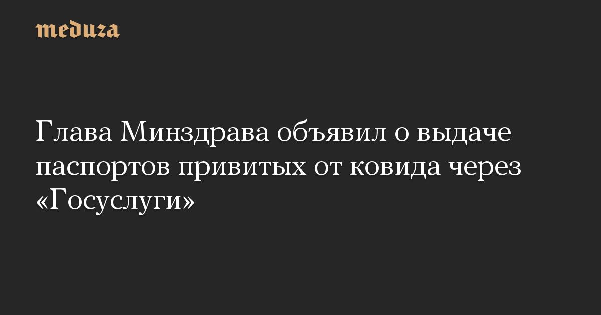 Глава Минздрава объявил о выдаче паспортов привитых от ковида через «Госуслуги»