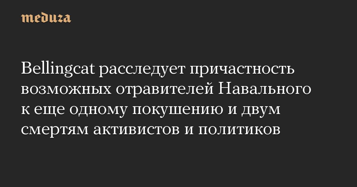 Bellingcat расследует причастность возможных отравителей Навального к еще одному покушению и двум смертям активистов и политиков