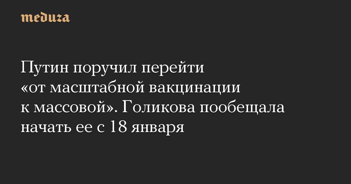 Путин поручил перейти «от масштабной вакцинации к массовой». Голикова пообещала начать ее с 18 января