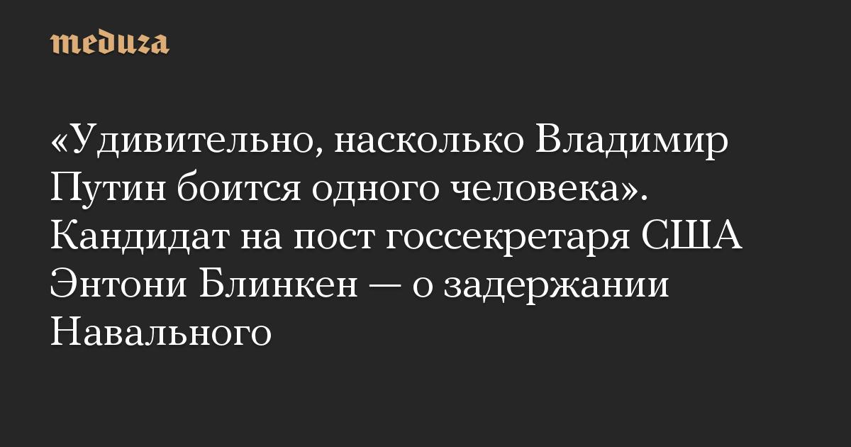«Удивительно, насколько Владимир Путин боится одного человека». Кандидат на пост госсекретаря США Энтони Блинкен — о задержании Навального